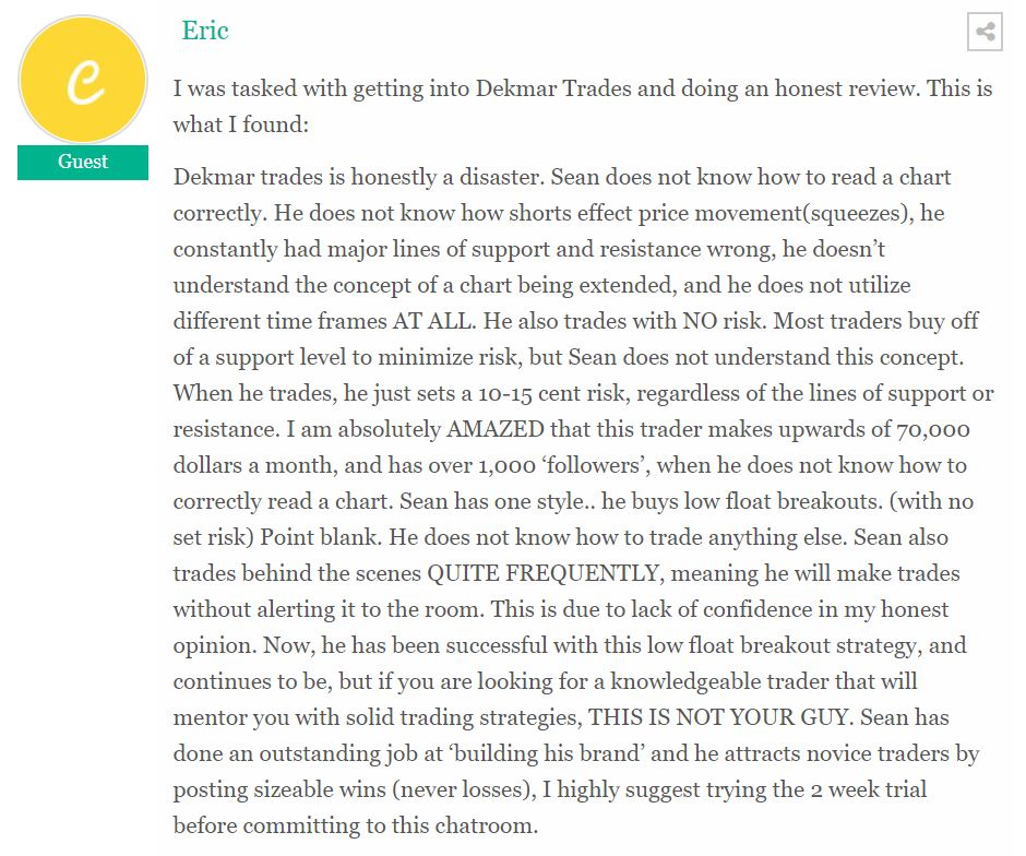 negative review of Dekmar Trades